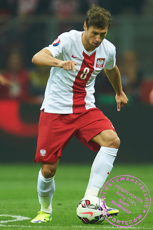Poland's Grzegorz Krychowiak controls the ball during the EURO 2016 qualifying match between Poland and Germany on October 11, 2014 at the National stadium in Warsaw, Poland<br /> <br /> Picture also available in RAW (NEF) or TIFF format on special request.<br /> <br /> For editorial use only. Any commercial or promotional use requires permission.<br /> <br /> Mandatory credit:<br /> Photo by &copy; Adam Nurkiewicz / Mediasport
