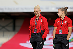NEWPORT, WALES - Tuesday, June 12, 2018: Wales' captain Sophie Ingle (left) and Loren Dykes (right) before the FIFA Women's World Cup 2019 Qualifying Round Group 1 match between Wales and Russia at Newport Stadium. (Pic by David Rawcliffe/Propaganda)