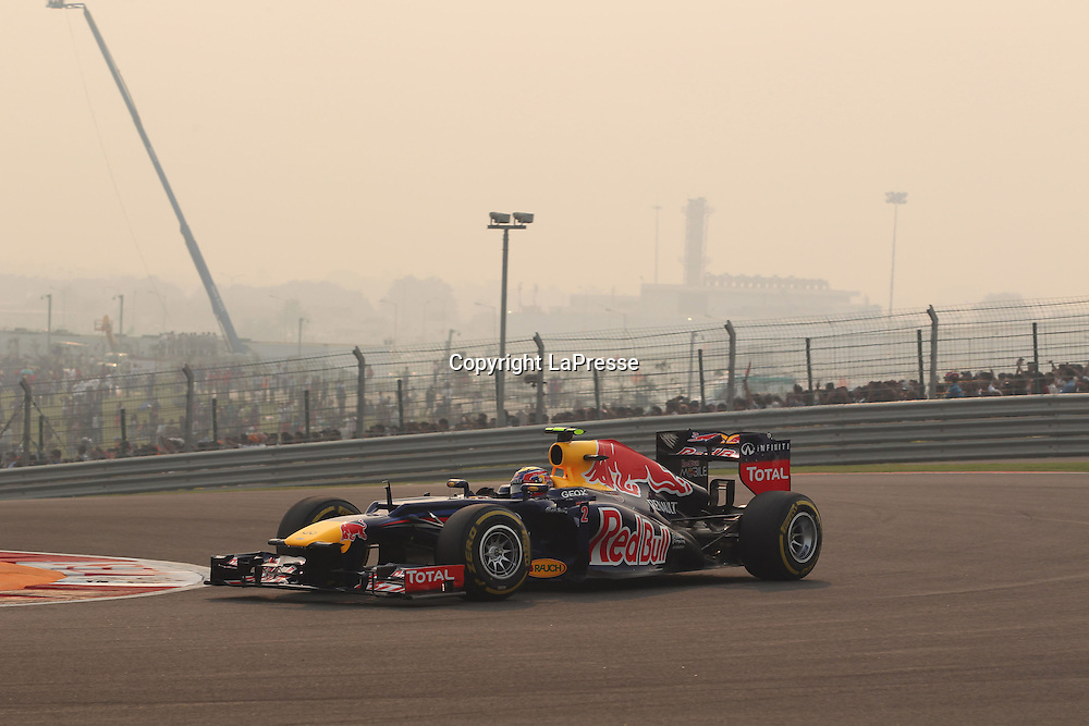 &copy; Photo4 / LaPresse<br /> 28/10/2012 Noida, India<br /> Sport <br /> Indian Grand Prix, Noida 25-28 October 2012<br /> In the pic: Mark Webber (AUS), Red Bull Racing, RB8