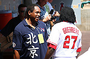 ANAHEIM, CA - AUGUST 24:  Dave Winfield (left), formerly of the Los Angeles Angels of Anaheim, talks to Vladimir Guerrero #27 of the Angels in the dugout as the Angels honor past players before the game against the Minnesota Twins at Angel Stadium on August 24, 2008 in Anaheim, California. The Angels defeated the Twins 5-3. ©Paul Anthony Spinelli *** Local Caption *** Dave Winfield;Vladimir Guerrero