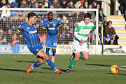 David Fitzpatrick of AFC Wimbledon feeds another through ball during the Sky Bet League 2 match between AFC Wimbledon and Yeovil Town at the Cherry Red Records Stadium, Kingston, England on 30 January 2016. Photo by Stuart Butcher.