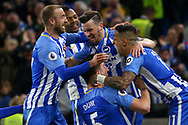 Pascal Gross of Brighton celebrates scoring the opening goal during the Premier League match between Brighton and Hove Albion and Manchester United at the American Express Community Stadium in Brighton and Hove. 04 May 2018