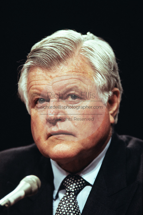 Senator Ted Kennedy speaks on behalf of deputy Secretary of Defense John Deutch during the confirmation hearing for his nomination as Director of the CIA April 26, 1995 in Washington, DC.
