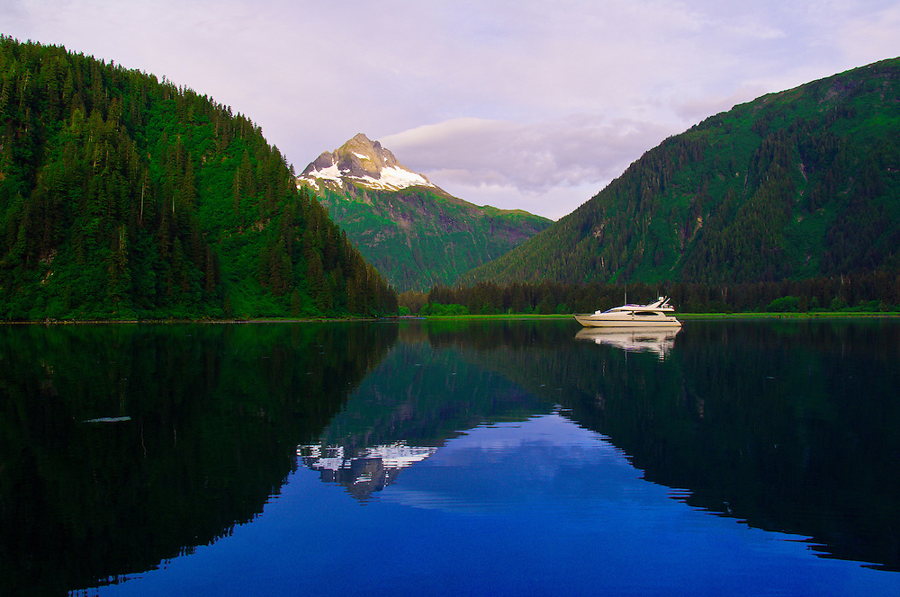 Mountain reflection in early morning, Red Bluff Bay, Inside Passage, Southeast Alaska