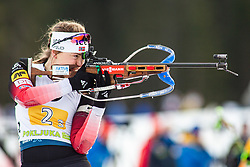 Synnoeve Solemdal (NOR) during the Mixed Relay 2x 6 km / 2x 7,5 km at day 3 of IBU Biathlon World Cup 2019/20 Pokljuka, on January 23, 2020 in Rudno polje, Pokljuka, Pokljuka, Slovenia. Photo by Peter Podobnik / Sportida