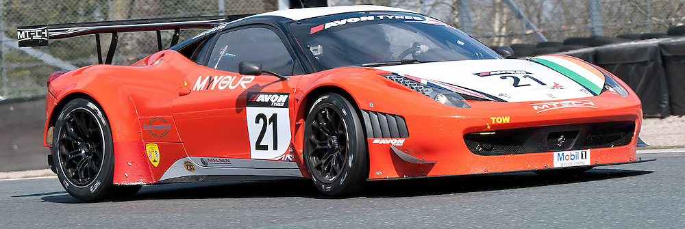 Mtech, Duncan Cameron & Matt Griffin, Ferrari 458 Italia GT3, GT3 - during qualifying and practice at the first round of the Avon Tyres British GT Championship held at Oulton Park, Cheshire, UK.  30th March 2013 WAYNE NEAL | STOCKPIX.EU