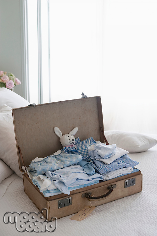 Childrens clothing in a suitcase