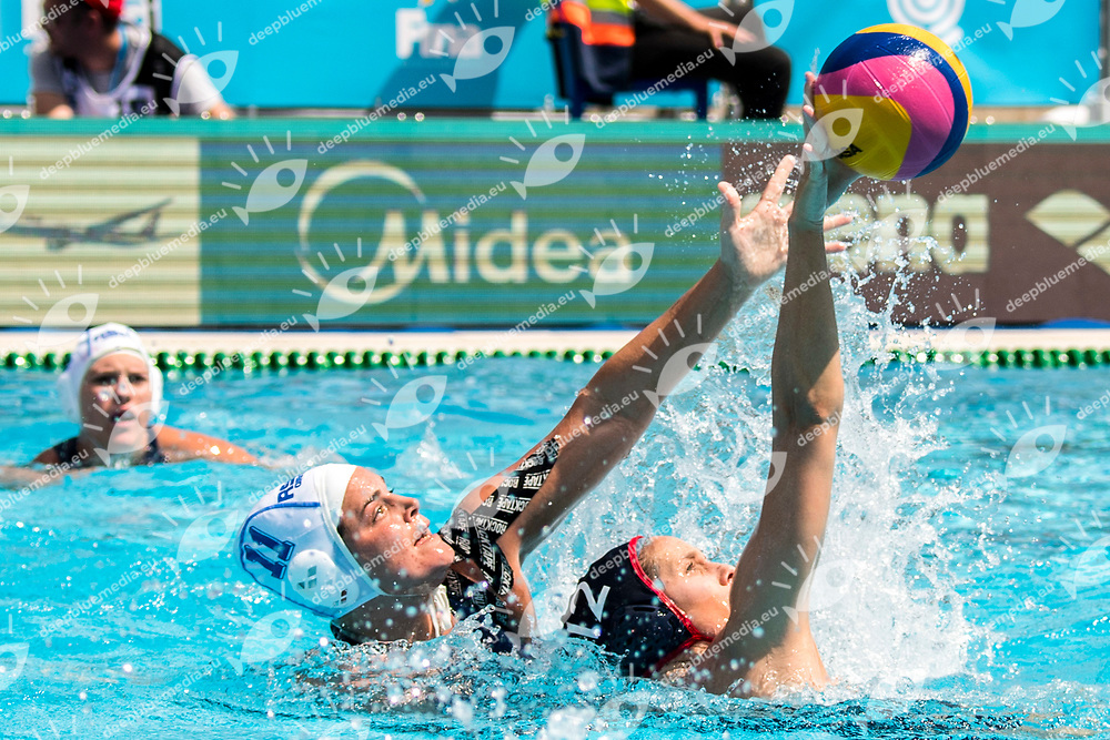 BARRETT Nicola RSA, WILLIAMS Alys USA  <br /> RSA (white cap) -  USA (blue cap)<br /> Preliminary Round Water Polo<br /> Day03  16/07/2017 <br /> XVII FINA World Championships Aquatics<br /> Alfred Hajos Complex Margaret Island  <br /> Budapest Hungary <br /> Photo @ Deepbluemedia/Insidefoto