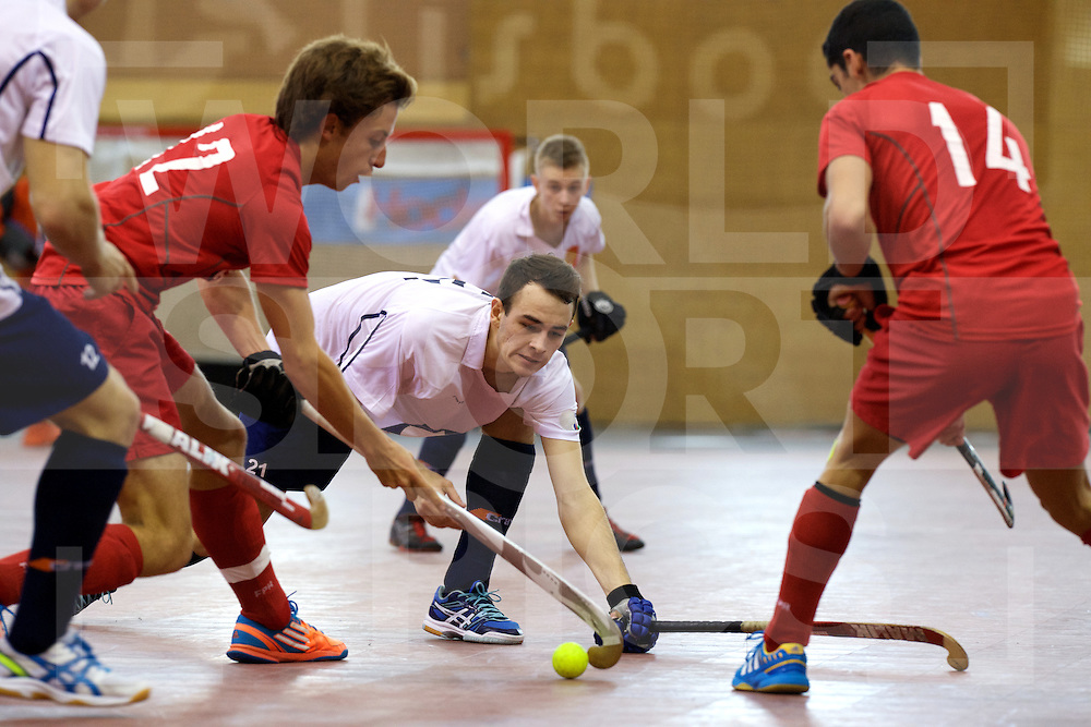 2017 EuroHockey Indoor Junior Championship (M)<br /> 12 Portugal - Russia<br /> Foto: Nicolas Wenzel (C) (L) defending Aleksandr Agafontsev and Tiago Sousa (R).<br /> FFU PRESS AGENCY COPYRIGHT FRANK UIJLENBROEK