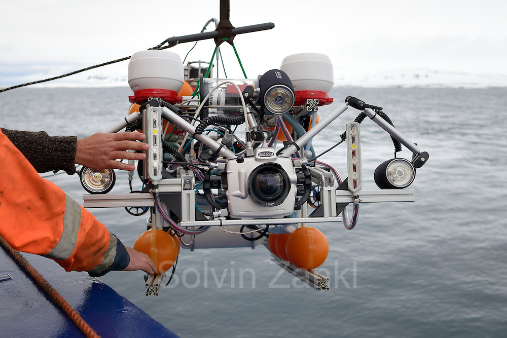 ROV gets deployed using a crane onboard the research vessel Maria S. Merian during an operation in the Arctic Ocean. Svalbard, Spitsbergen, Norway.   ROV wird während einer Expedition des Forschungsschiffs Maria S. Merian mithilfe eines Krans über die Bordwand zu Wasser gelassen. Arktischen Ozean, Svalbard, Spitzbergen, Norwegen.