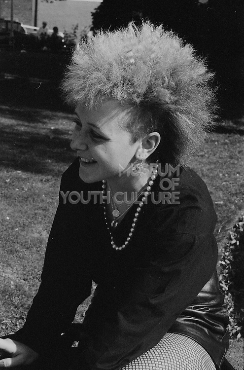 Unknown punk girl, High Wycombe Churchyard, UK. 1980s.