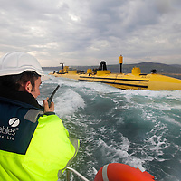 Orkney Islands Sept 2011 Wave and Tidal Power shoot - out testing with the Scotrenewables machine off Kirwall -  Scotrenewables Tidal Power Ltd is a renewable energy research and development business based in the Orkney Islands.