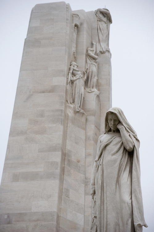 The Weeping Woman or Mother Canada mourning her dead in the ‪Canadian National Vimy Memorial‬ dedicated to the memory of Canadian Expeditionary Force members killed in World War one. The monument is situated at a 100 hectare preserved battlefield with wartime tunnels, trenches, craters and unexploded munitions. The memorial designed by Walter Seymour Allward opened in 1936.
