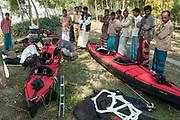 Bangladesh, assembling kayaks on the Teesta River near the border with India.