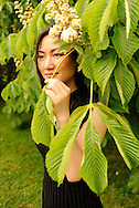 Chinese model, Xiaoyan Fan, on a spring day  in the Rockefeller Preserve..