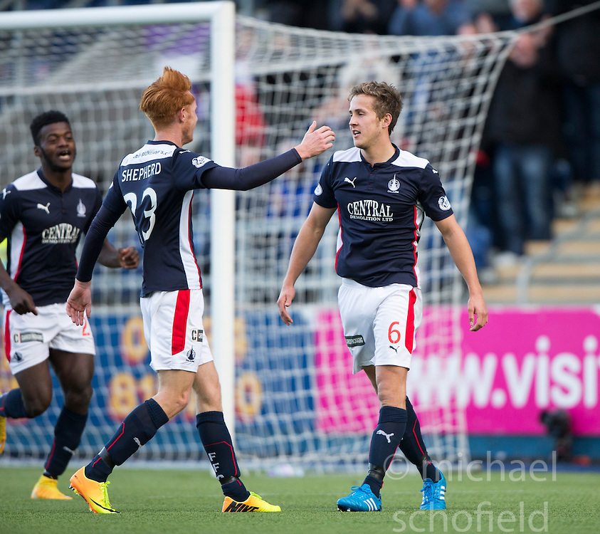 Falkirk's Will Vaulks cele scoring their sixth goal.<br /> Falkirk 6 v 0 Cowdenbeath, Scottish Championship game played at The Falkirk Stadium, 25/10/2014.