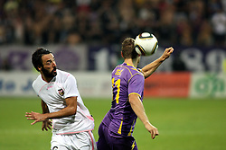 Ezequiel Matias Munoz of Palermo vs Dragan Jelic of Maribor during the UEFA Europa League play-offs second leg match between NK Maribor and US Citta di Palermo at Ljudski vrt Stadium on August 26, 2010 in Maribor, Slovenia. Maribor defeated Palermo 3-2 but Palermo won in total 5-3 and qualified for Europa league. (Photo by Marjan Kelner / Sportida)
