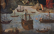Detail of ships and boats at sea, from the triptych altarpiece, Virgen de los Mareantes, or Madonna of the Seafarers, 1531–36, by Alejo Fernandez, 1475-1545, with the Virgin sheltering a group of Native Americans under her cloak, with 4 saints including St Sebastian and St James, in the Sala de Audiences, or Chapterhouse, now used as a chapel, in the Real Alcazar, a Moorish royal palace in Seville, Andalusia, Spain. The Alcazar was first founded as a fort in 913, then developed as a palace in the 11th, 12th and 13th centuries and used by both Muslim and Christian rulers. The Alcazar is listed as a UNESCO World Heritage Site. Picture by Manuel Cohen
