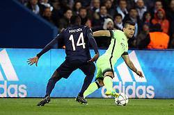 Sergio Aguero of Manchester City takes on Blaise Matuidi of Paris Saint-Germain - Mandatory by-line: Robbie Stephenson/JMP - 06/04/2016 - FOOTBALL - Parc des Princes - Paris,  - Paris Saint-Germain v Manchester City - UEFA Champions League Quarter Finals First Leg