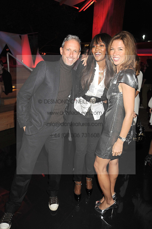 Left to right, PATRICK COX, NAOMI CAMPBELL and HEATHER KERZNER at the annual Serpentine Gallery Summer Party in Kensington Gardens, London on 9th September 2008.