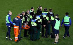 Bristol Rugby replacement Olly Robinson is stretchered off after picking up an injury - Mandatory byline: Robbie Stephenson/JMP - 25/05/2016 - RUGBY UNION - Ashton Gate Stadium - Bristol, England - Bristol Rugby v Doncaster Knights - Greene King IPA Championship Play Off FINAL 2nd Leg.