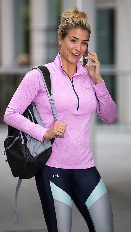 © Licensed to London News Pictures . 31/07/2017 . Manchester , UK . Hollyoaks actor Gemma Atkinson arrives at the opening event for Up Gym in Spinningfields . Photo credit : Joel Goodman/LNP