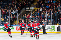 KELOWNA, CANADA - NOVEMBER 14: The Kelowna Rockets celebrate a first period goal against the Edmonton Oil Kings on November 14, 2017 at Prospera Place in Kelowna, British Columbia, Canada.  (Photo by Marissa Baecker/Shoot the Breeze)  *** Local Caption ***