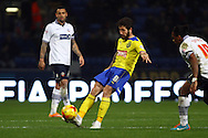 Jacob Butterfield of Huddersfield Town crosses the ball. Skybet football league championship match, Bolton Wanderers v Huddersfield Town at the Macron stadium in Bolton, Lancs on Saturday 29th November 2014.<br /> pic by Chris Stading, Andrew Orchard sports photography.