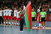 Flag of Belarus during anthems before the EHF 2018 Men's European Championship, 2nd Round, Handball match between Croatia and Belarus on January 18, 2018 at the Arena in Zagreb, Croatia - Photo Laurent Lairys / ProSportsImages / DPPI