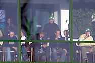 n/z.: Prezes Groclin Zbigniew Drzymala ( w zielonej czapce ) Skybox - loza VIP podczas meczu ligowego Groclin Grodzisk Wlkp. (biale) - Polonia Warszawa (czarne) 5:0 , I liga polska , 14 kolejka sezon 2004/2005 , pilka nozna , Polska , Grodzisk Wielkopolski , 13-03-2005 , fot.: Adam Nurkiewicz / mediasport..Groclin's President Zbigniew Drzymala ( in green cap ) Skybox for VIP during Polish league first division soccer match in Grodzisk Wielkopolski. March 13, 2005 ; Groclin Grodzisk Wlkp. (white) - Polonia Warszawa (black) 5:0 ; first division , 14 round season 2004/2005 , football , Poland , Grodzisk Wielkopolski ( Photo by Adam Nurkiewicz / mediasport )
