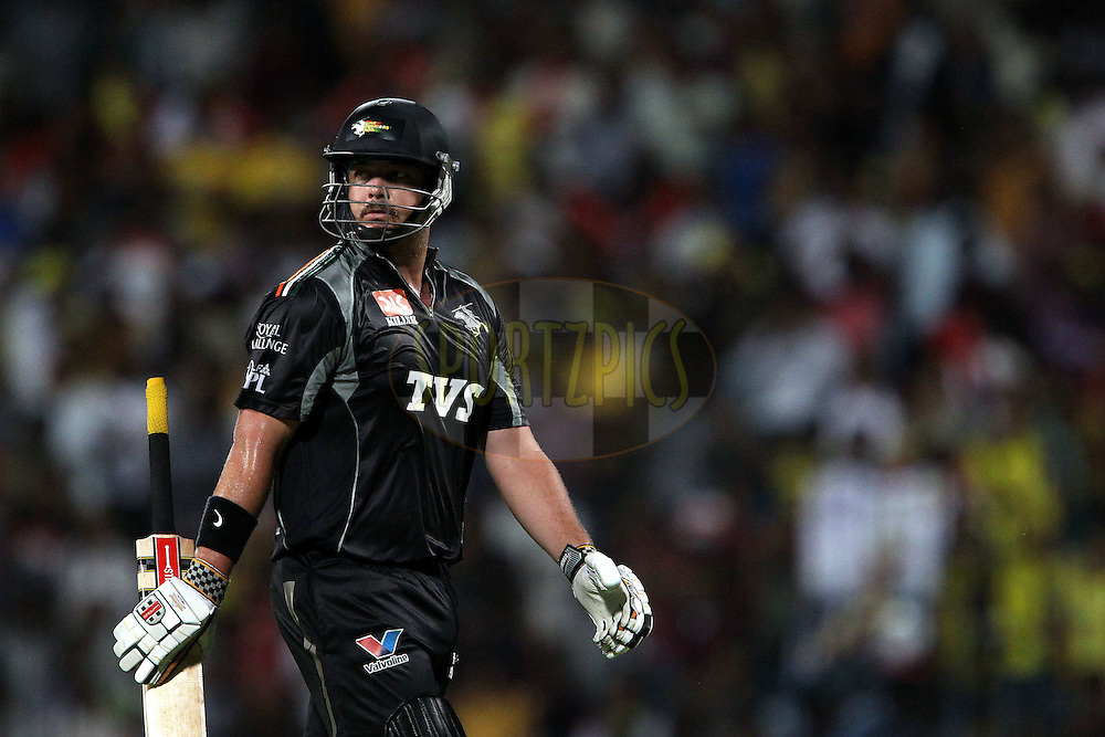 Jesse Ryder leaves the field after being dismissed during match 29 of the Indian Premier League ( IPL ) Season 4 between the Chennai Superkings and The Pune Warriors held at the MA Chidambaram Stadium in Chennai, Tamil Nadu, India on the 25th April 2011..Photo by Ron Gaunt/BCCI/SPORTZPICS