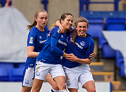 BIRKENHEAD, ENGLAND - Sunday, April 29, 2018: Everton's Jodie Brett (right) celebrates scoring the first equalising goal during the FA Women's Super League 1 match between Liverpool FC Ladies and Everton FC Ladies at Prenton Park. (Pic by David Rawcliffe/Propaganda)