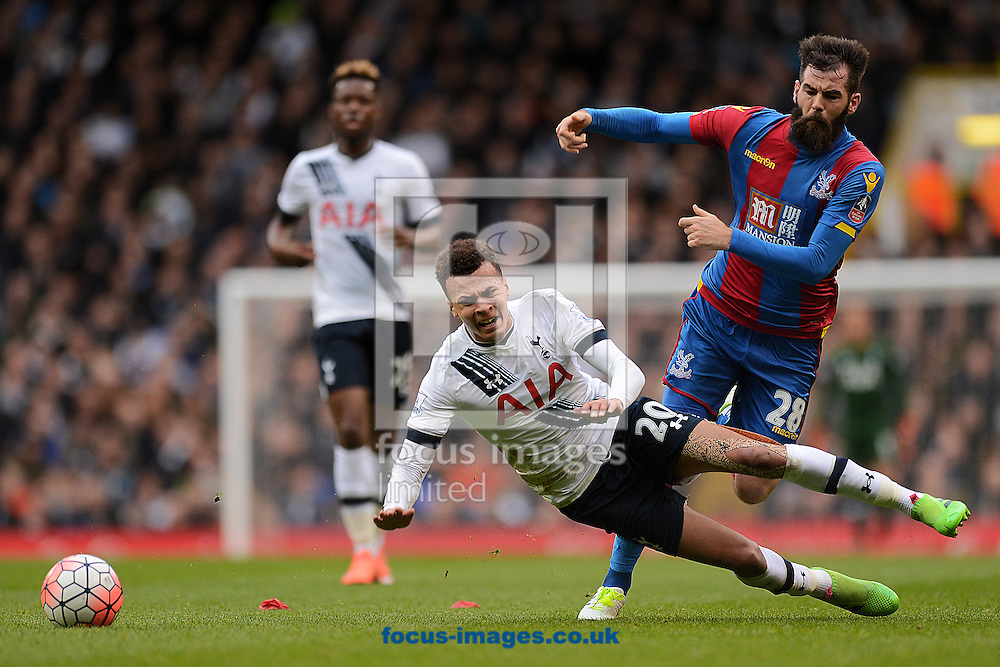 Dele Alli of Tottenham Hotspur is fouled by Joe Ledley of Crystal Palace during the FA Cup match between Tottenham Hotspur and Crystal Palace at White Hart Lane, London<br /> Picture by Richard Blaxall/Focus Images Ltd +44 7853 364624<br /> 21/02/2016