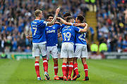 Portsmouth Players Celebrate after Portsmouth Defender, Enda Stevens (3) cross ends up in the back of the net goal 1-0 during the EFL Sky Bet League 2 match between Portsmouth and Cheltenham Town at Fratton Park, Portsmouth, England on 6 May 2017. Photo by Adam Rivers.
