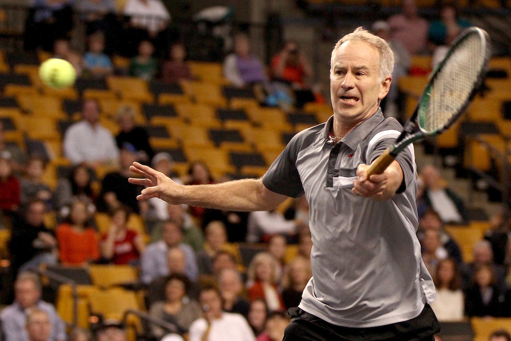 October 19, 2012, Boston, MA:<br /> John McEnroe during the PowerShares tennis series at the Boston Garden in Boston, Massachusetts October 19, 2012.<br /> (Photo by Billie Weiss/Boston Red Sox)