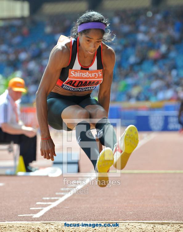 Picture by Alan Stanford/Focus Images Ltd +44 7915 056117<br /> 12/07/2013<br /> Yamile Aldama (GBR) Triple jump pictured during day two of Sainsbury's British Championship at Alexander Stadium, Birmingham.