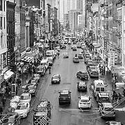 Chinatown, New York City in black and white from the Manhattan Bridge.