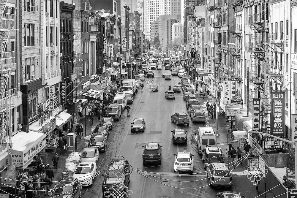 Chinatown, New York City in black and white from the Manhattan Bridge.