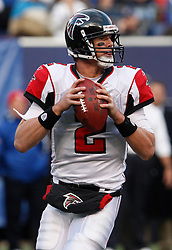Nov 22, 2009; East Rutherford, NJ, USA; Atlanta Falcons quarterback Matt Ryan (2) looks to pass during the second half of their game against the New York Giants at Giants Stadium. The Giants won 34-31.  Mandatory Credit: Ed Mulholland