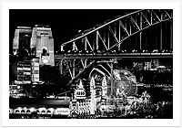 A black and white perspective of Sydney's Vivid Festival highlights the amazing shapes, patterns and textures of the harbour city at night [Sydney, NSW]<br /> <br /> To purchase please email orders@girtbyseaphotography.com quoting the image number 303461, and your preferred print size. You will receive a quick reply recommending print media options to best suit your chosen image, plus an obligation-free quotation. Current standard size prices are published on the Pricing page.