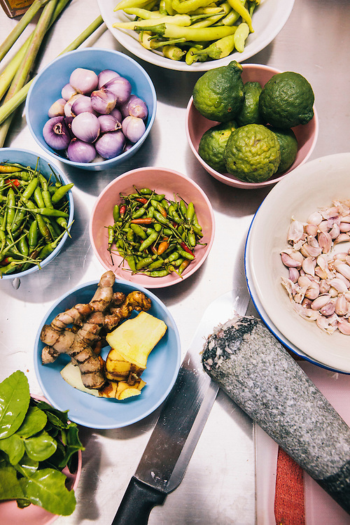 Laab/larb ingredients in Andy Ricker's kitchen, Chiang Mai