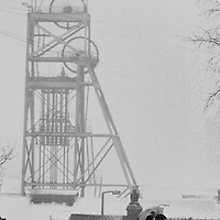Headgear Hickleton Colliery, Thurnscoe, in the snow. National Coal Board Doncaster Area 15/01/1985.
