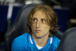 LONDON, ENGLAND - THURSDAY, SEPTEMBER 29, 2011: Tottenham Hotspur's Luka Modric looks on from the bench during the UEFA Europa League Group A match at White Hart Lane. (Photo by Chris Brunskill/Propaganda)