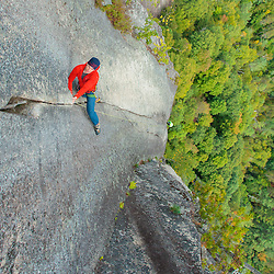 Adam Bidwell Climbing on Cathedral Ledge