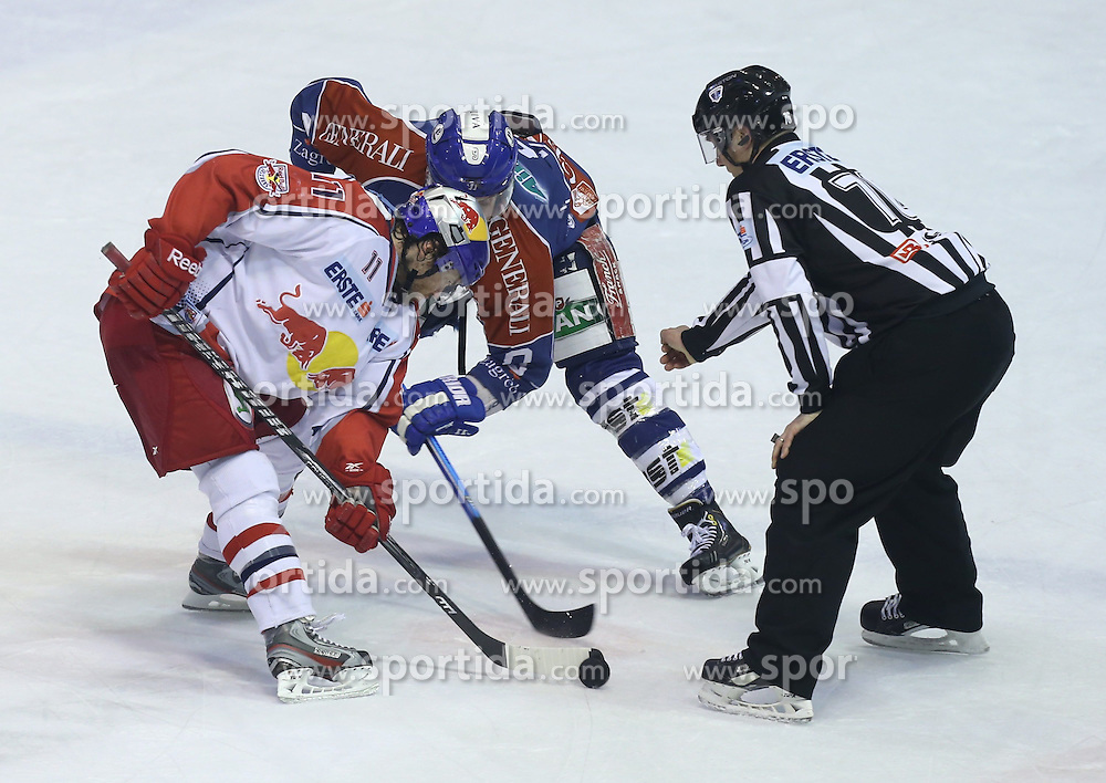 24.02.2013, Dom Sportova, Zagreb, CRO, EBEL, KHL Medvescak Zagreb vs EC Red Bull Salzburg, Playoff best of seven, 1. Runde, im Bild Mark Cullen, Brandon Buck // during the Erste Bank Icehockey League playoff best of seven 1st round match between KHL Medvescak Zagreb and EC Red Bull Salzburg at the Dom Sportova, Zagreb, Croatia on 2013/02/24. EXPA Pictures © 2013, PhotoCredit: EXPA/ Pixsell/ Marko Lukunic..***** ATTENTION - for AUT, SLO, SUI, ITA, FRA only *****