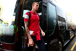 Aden Flint of Bristol City arrives at Vicarage Road for his side's Carabao Cup Match against Watford - Mandatory by-line: Robbie Stephenson/JMP - 22/08/2017 - FOOTBALL - Vicarage Road - Watford, England - Watford v Bristol City - Carabao Cup