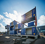 Containerbyen i Nordhavn, genbrugsbyggeri af gamle containere, kontorlokaler, nybyggeri, facade, etager