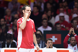 21.11.2014, Stade Pierre Mauroy, Lille, FRA, Davis Cup Finale, Frankreich vs Schweiz, im Bild Captain Severin Luethi (SUI) // during the Davis Cup Final between France and Switzerland at the Stade Pierre Mauroy in Lille, France on 2014/11/21. EXPA Pictures © 2014, PhotoCredit: EXPA/ Freshfocus/ Valeriano Di Domenico<br /> <br /> *****ATTENTION - for AUT, SLO, CRO, SRB, BIH, MAZ only*****