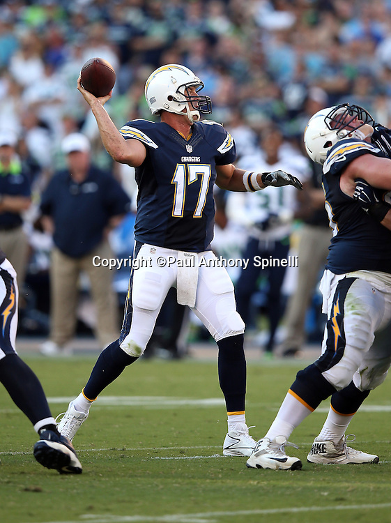 San Diego Chargers quarterback Philip Rivers (17) throws a pass during the 2015 NFL preseason football game against the Seattle Seahawks on Saturday, Aug. 29, 2015 in San Diego. The Seahawks won the game 16-15. (©Paul Anthony Spinelli)