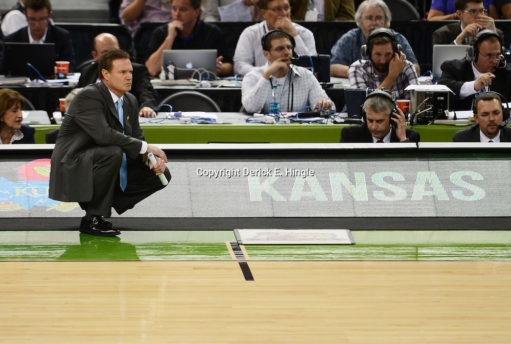 Mar 31, 2012; New Orleans, LA, USA; Kansas Jayhawks head coach Bill Self during the second half in the semifinals of the 2012 NCAA men's basketball Final Four against the Ohio State Buckeyes at the Mercedes-Benz Superdome. Mandatory Credit: Derick E. Hingle-US PRESSWIRE
